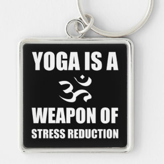 Wapen van de Yoga van de Vermindering van de Zilverkleurige Vierkante Sleutelhanger