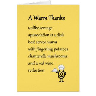 Warm Bedankt - grappig dankt u gedicht Kaart