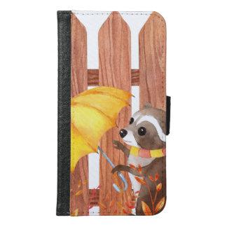 wasbeer met paraplu die door omheining lopen samsung galaxy s6 portemonnee hoesje