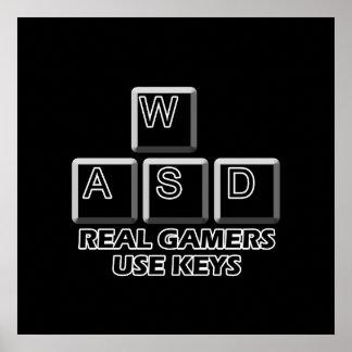 WASD - de Echte Sleutels van het Gebruik Gamers Poster