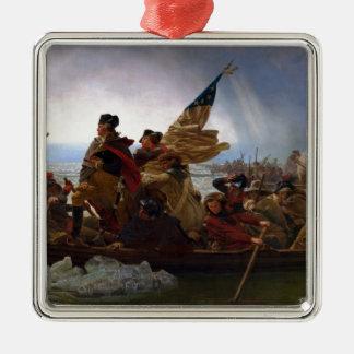 Washington die Delaware kruisen - het Vintage Art. Zilverkleurig Vierkant Ornament