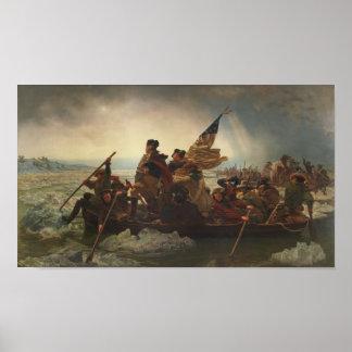 Washington die het Schilderen van Delaware kruisen Poster