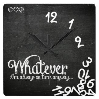Wat, ben ik altijd op tijd hoe dan ook… vierkante klok