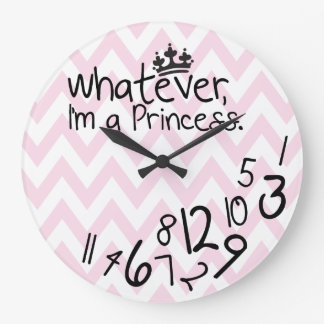Wat, ben ik een Prinses - roze en witte chevron Grote Klok