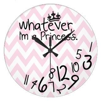Wat, ben ik een Prinses - roze en witte chevron Ronde Klok Large