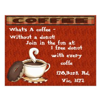 Wat een koffie - zonder een doughnut is! flyer 21,6 x 27,9 cm