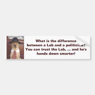 Wat het verschil tussen een Laboratorium & een pol Bumpersticker