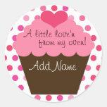"""""""WAT love'n van mijn oven"""" cupcake sticker"""
