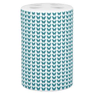 Water-blauw-vlinder-botanisch-reeks-bad-decor Badkamer Set