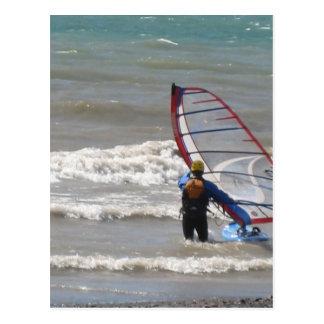 water-wind het surfen briefkaart