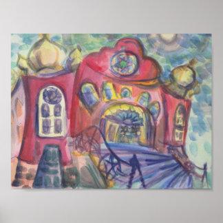 Watercolour die de Oude Joodse Synagoge van Ottawa Poster