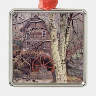 Waterrad Zilverkleurig Vierkant Ornament