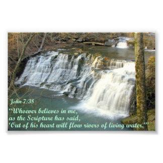 Waterval met John 7:38 Foto Afdruk