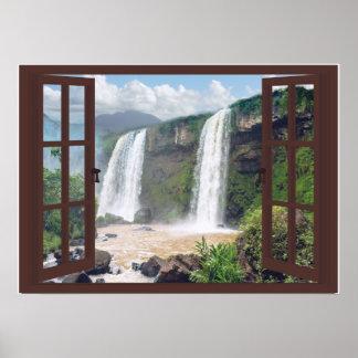 Watervallen Trompe - l ' oeil Venster Faux Poster