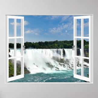Watervallen Trompe - Uitzicht van het Venster van Poster