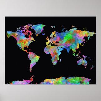 waterverf 15 van de wereldkaart poster
