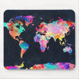 waterverf 21 van de wereldkaart muismat