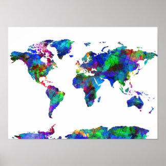 waterverf 6 van de wereldkaart poster