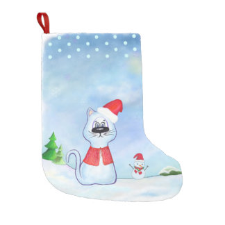 waterverf Blauwe kat de Kerstman, de winter van Kleine Kerstsok