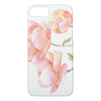 Waterverf bloemen - de Pioen van de Perzik iPhone 8/7 Hoesje