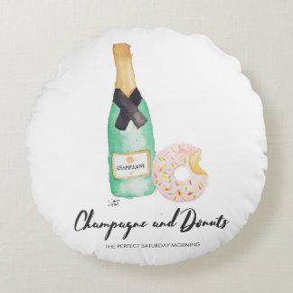 Waterverf Champagne en Donuts om Hoofdkussen Rond Kussen