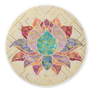 Waterverf & Gouden Paisley verfraaide lotusbloem Keramische Knop