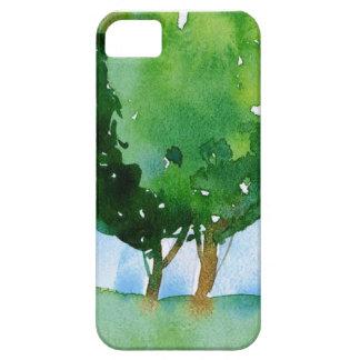 waterverf groene bomen barely there iPhone 5 hoesje