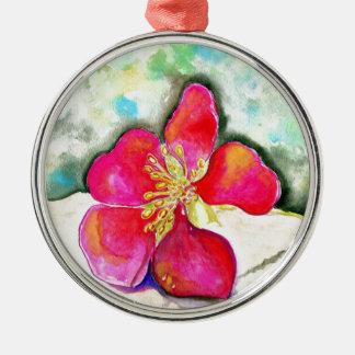 Waterverf van de Bloem van de geheimzinnigheid de Zilverkleurig Rond Ornament