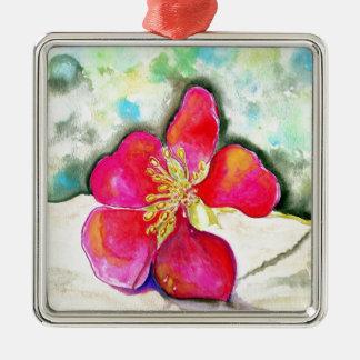 Waterverf van de Bloem van de geheimzinnigheid de Zilverkleurig Vierkant Ornament