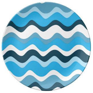 Waves 2 (blue) porseleinen bord