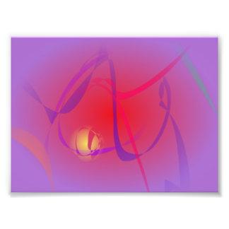 Wazige Rood en een Gele Planeet Foto Print