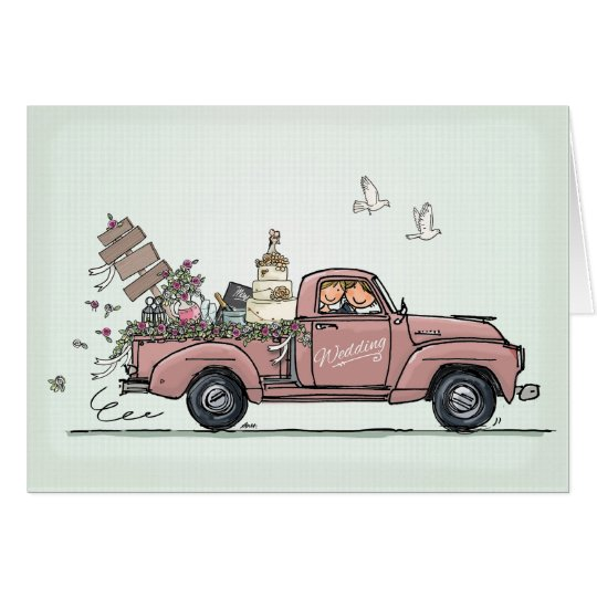 Wedding Card Vintage Car Pickup Truck Kaart