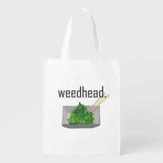 weedhead. (zeewiersalade) herbruikbare boodschappentas
