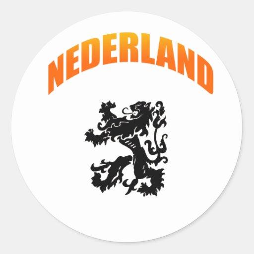 Week Voetbal van Nederland leeuw Ronde Sticker