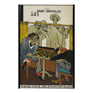 Weense Koffiebar: De spelers van het Schaak (de Poster