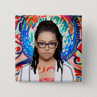 Wees Zwarte   Cosima Niehaus - Elegante Geek Vierkante Button 5,1 Cm
