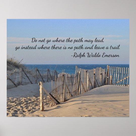 Weg aan het strand met citaat poster