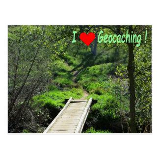 Weg in het Bos voor Geocaching Briefkaart