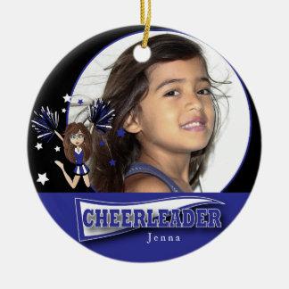Weinig Cheerleader - Donkerblauwe Foto DIY - Rond Keramisch Ornament