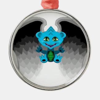 Weinig Draak met Vleugels Zilverkleurig Rond Ornament
