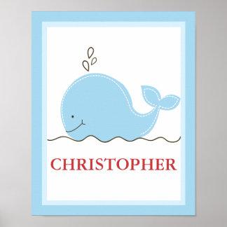 Weinig Druk van de Kunst van de Blauwe vinvis Gepe Poster