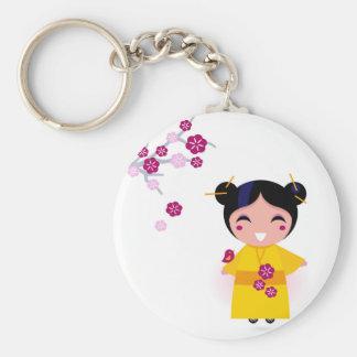 Weinig gele Geisha op wit Sleutelhanger