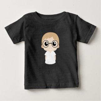 Weinig jongen met de vector van oogglazen baby t shirts