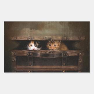 Weinig leuk katje in een oud houten hoesje rechthoekige sticker