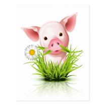 Weinig roze varken in gras wens kaart