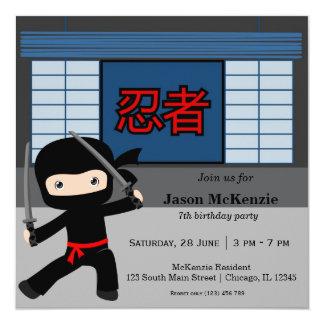 Weinig thema van de ninjaverjaardag kaart