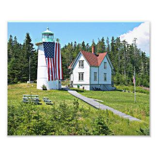 Weinig Vuurtoren van de Rivier, de foto van Maine Foto Afdruk