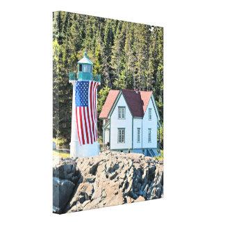 Weinig Vuurtoren van de Rivier, Maine Verpakt Canvas Afdruk