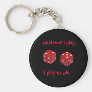 welk ik speel, speel ik om te winnen keychain basic ronde button sleutelhanger