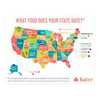 Welk Voedsel haat Uw Staat? Briefkaart